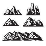 Значки горы установленные на белую предпосылку вектор Стоковое Фото