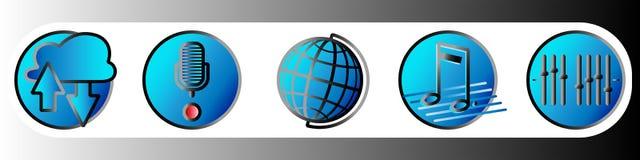 Значки градиента музыки и игры в голубых оттенках Установите 5 иллюстрация вектора