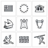 Значки Греции также вектор иллюстрации притяжки corel Стоковое Изображение RF