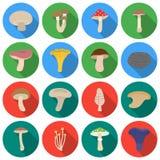 Значки гриба установленные в плоском стиле Большая иллюстрация запаса символа вектора гриба собрания иллюстрация вектора