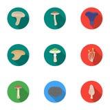 Значки гриба установленные в плоском стиле Большое собрание иллюстрации запаса символа вектора гриба иллюстрация штока