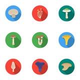 Значки гриба установленные в плоском стиле Большое собрание иллюстрации запаса символа вектора гриба бесплатная иллюстрация