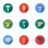Значки гриба установленные в плоском стиле Большое собрание символа вектора гриба бесплатная иллюстрация