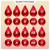 Значки групп крови Стоковое Изображение