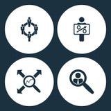 Значки дела иллюстрации вектора установленные Сеть людей элементов, диаграмма держа пробел, диаграмма поиска и выбранный поиска з бесплатная иллюстрация