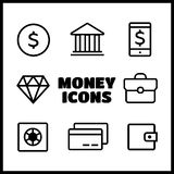 Значки денег Линия стиль значка финансов Стоковое фото RF