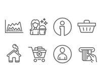 Значки диаграммы воплощения, чистки и торговли Извлеките приобретение, знаки корзины для товаров и кредитной карточки иллюстрация вектора