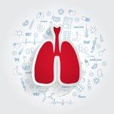 Значки для медицинских специальностей Pulmonology и концепция легких Иллюстрация вектора с нарисованным рукой Doodle медицины Стоковое фото RF
