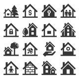 Значки дома установленные на белую предпосылку вектор Стоковое Изображение RF