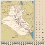 Значки дорожной карты и карты Ирака иллюстрация штока