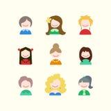 Значки девушки Стоковые Изображения RF
