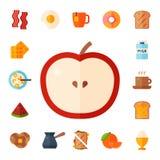 Значки еды еды завтрака здоровые выпивают иллюстрацию вектора ресторана меню мяса плоского обеда яичка хлеба дизайна здоровую иллюстрация вектора