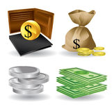 Значки денег - супер представьте Стоковое фото RF