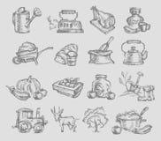 Значки деревни Иллюстрация штока