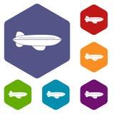Значки летания воздушных судн блимпа установили шестиугольник бесплатная иллюстрация