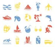 Значки лета и значки пляжа Стоковая Фотография