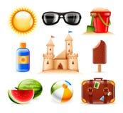 Значки лета и пляжа Стоковая Фотография RF