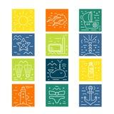 Значки лета Морские элементы дизайна Стоковые Фото