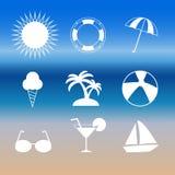 Значки лета установленные изолированные на предпосылке Современная плоская пиктограмма, Стоковое Изображение
