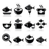 Значки ед рыб - суп, густой суп, гуляш, зажарил рыб иллюстрация штока