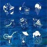 Значки еды и питья лета о перемещении Стоковые Фотографии RF