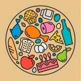 Значки еды, качественный плоский стиль, иллюстрация логотипа Стоковые Изображения