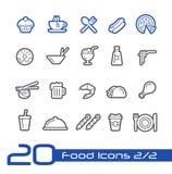 Значки еды - комплект 2 линии серии 2 // Стоковые Изображения