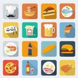 Значки еды плоские Стоковая Фотография RF
