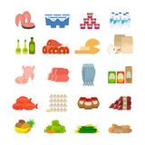 Значки еды супермаркета плоские Стоковые Изображения