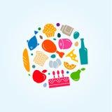 Значки еды Qquality плоские очень вкусные, стиль, логотип Стоковая Фотография