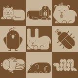 Значки животных зоопарка Стоковые Изображения