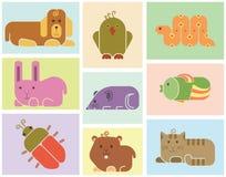Значки животных зоопарка иллюстрация штока