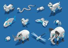 Значки животных роботов равновеликие бесплатная иллюстрация