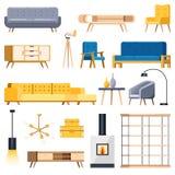 Значки живущей комнаты современные внутренние изолированные и элементы дизайна Иллюстрация вектора плоская Уютная мебель квартиры иллюстрация штока