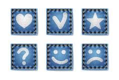 Значки джинсовых тканей Стоковое Изображение