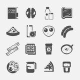 Значки завтрака черные Стоковые Изображения RF