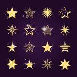 Значки звезды блеска и света золотые иллюстрация штока