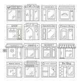 Значки зданий магазинов и магазинов города в линейном стиле иллюстрация вектора