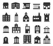 Значки зданий установленные на белую предпосылку иллюстрация Стоковое Изображение