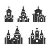 Значки здания церкви установленные на белую предпосылку вектор Стоковые Изображения