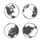 Значки земли глобуса установленные на белую предпосылку Стоковое Изображение RF