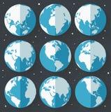 Значки земли глобуса Плоский стиль Стоковые Фотографии RF