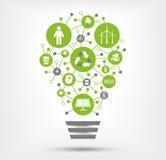 Значки зеленого цвета, экологичности и окружающей среды в электрической лампочке также вектор иллюстрации притяжки corel Стоковые Фотографии RF