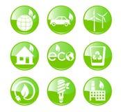 Значки зеленого цвета, экологичности и окружающей среды Стоковая Фотография RF