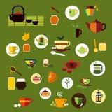 Значки зеленого, черного и травяного чая плоские иллюстрация штока
