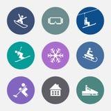 Значки зимы Спорт лыжи Установленные кнопки курорт Стоковая Фотография