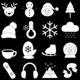 Значки зимы с черной предпосылкой Стоковые Изображения