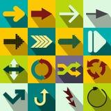 Значки знака стрелки плоские Стоковые Изображения
