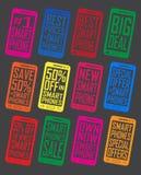 Значки значков уплотнений предложения и продвижения Smartphone Стоковые Фотографии RF