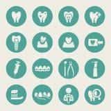 Значки зубоврачебной темы плоские Стоковое фото RF